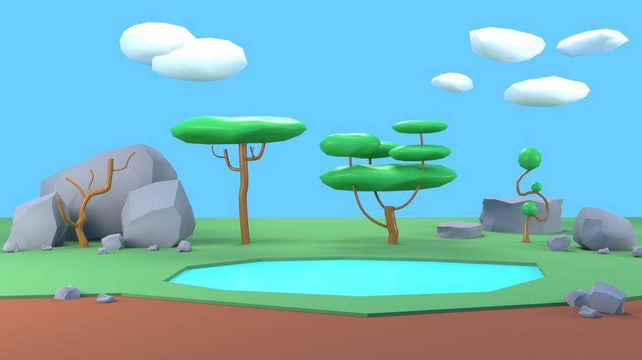 Drzewa Rośliny skały low poly royalty-free 3d model - Preview no. 11