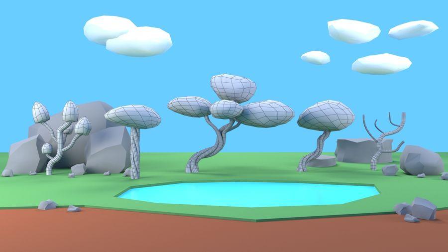 木植物岩低ポリ royalty-free 3d model - Preview no. 10