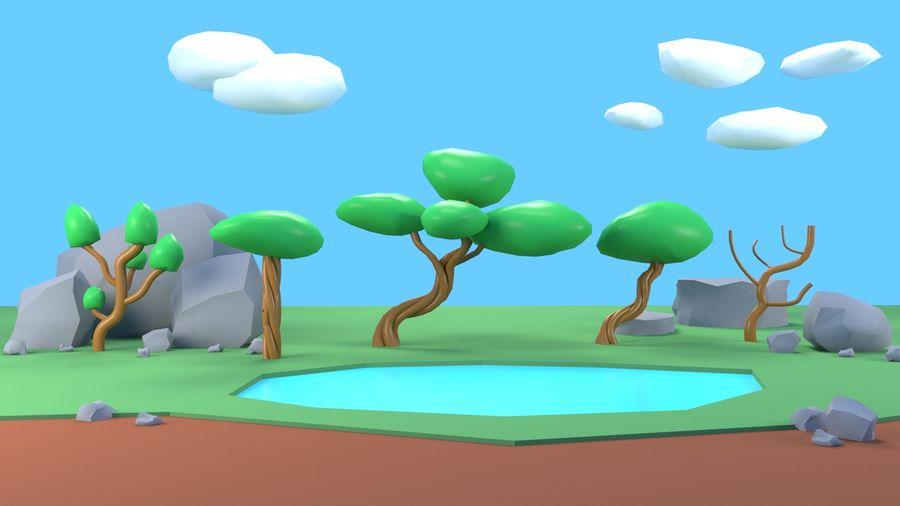 Drzewa Rośliny skały low poly royalty-free 3d model - Preview no. 9