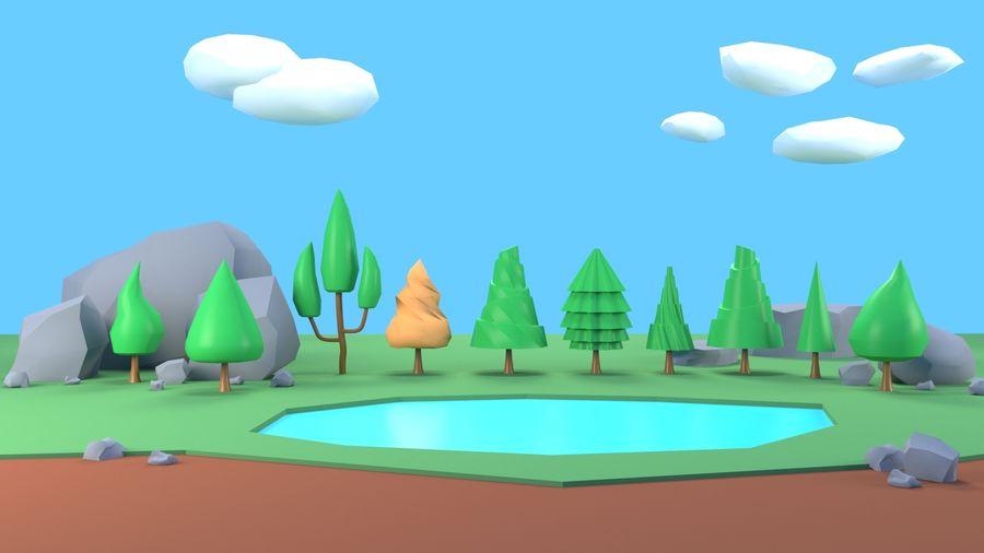 Drzewa Rośliny skały low poly royalty-free 3d model - Preview no. 2