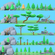 Arbres plantes roches low poly 3d model