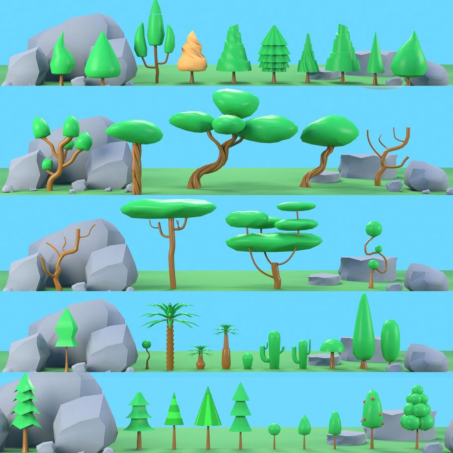 木植物岩低ポリ royalty-free 3d model - Preview no. 1