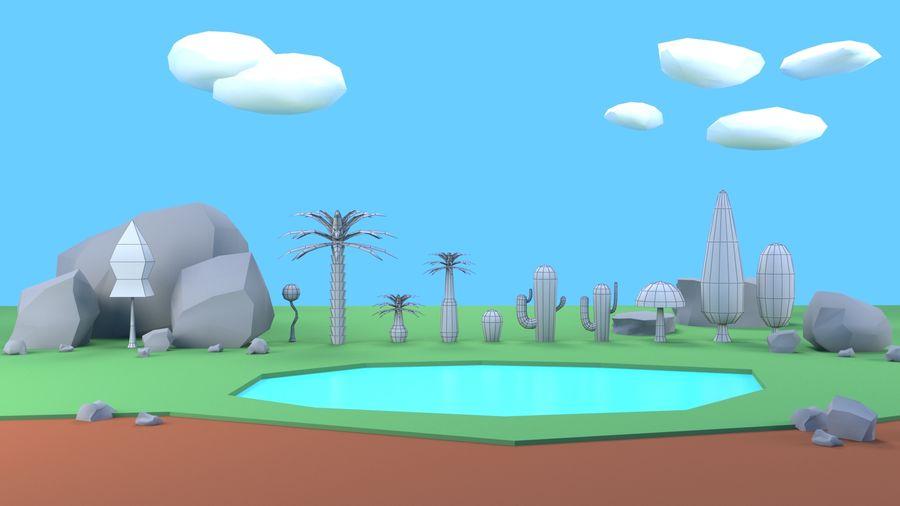 Drzewa Rośliny skały low poly royalty-free 3d model - Preview no. 8