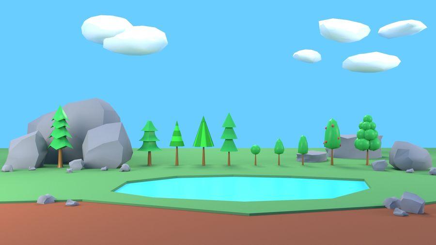 Drzewa Rośliny skały low poly royalty-free 3d model - Preview no. 5