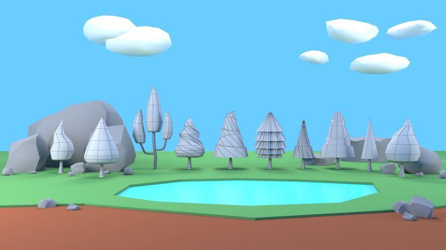 Drzewa Rośliny skały low poly royalty-free 3d model - Preview no. 4