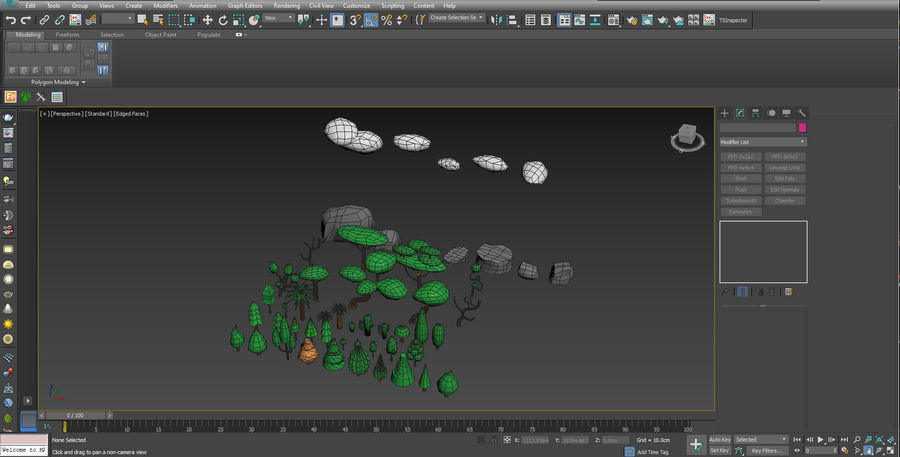 木植物岩低ポリ royalty-free 3d model - Preview no. 3