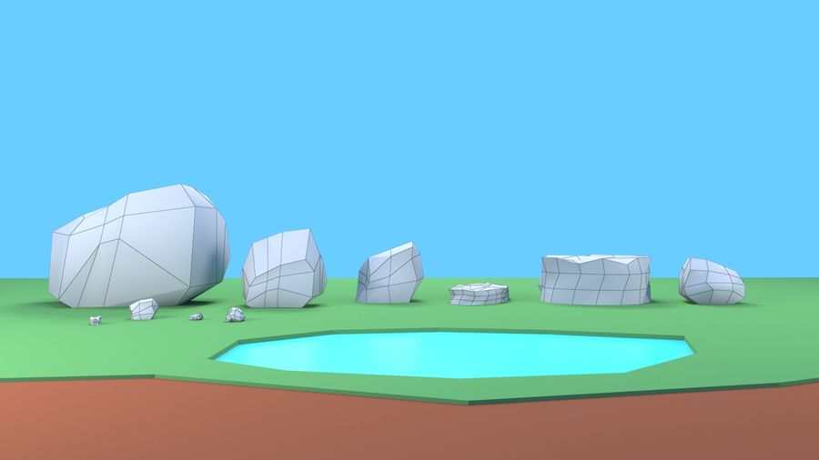 木植物岩低ポリ royalty-free 3d model - Preview no. 14