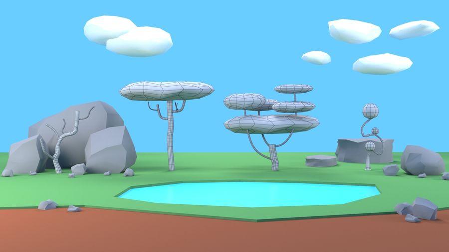 Drzewa Rośliny skały low poly royalty-free 3d model - Preview no. 12