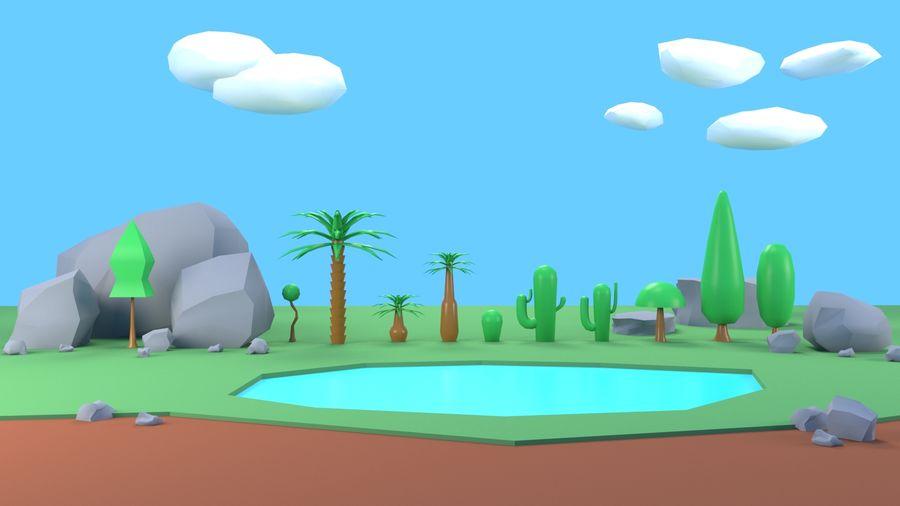 木植物岩低ポリ royalty-free 3d model - Preview no. 7