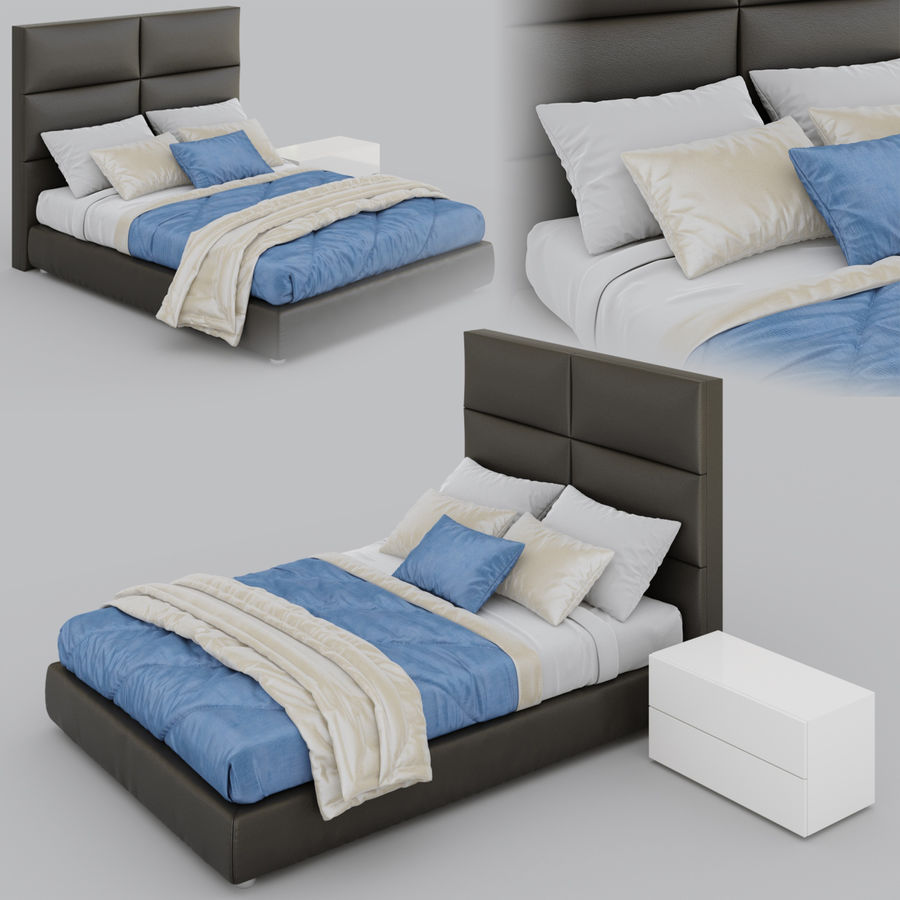 Riga Bed royalty-free 3d model - Preview no. 2