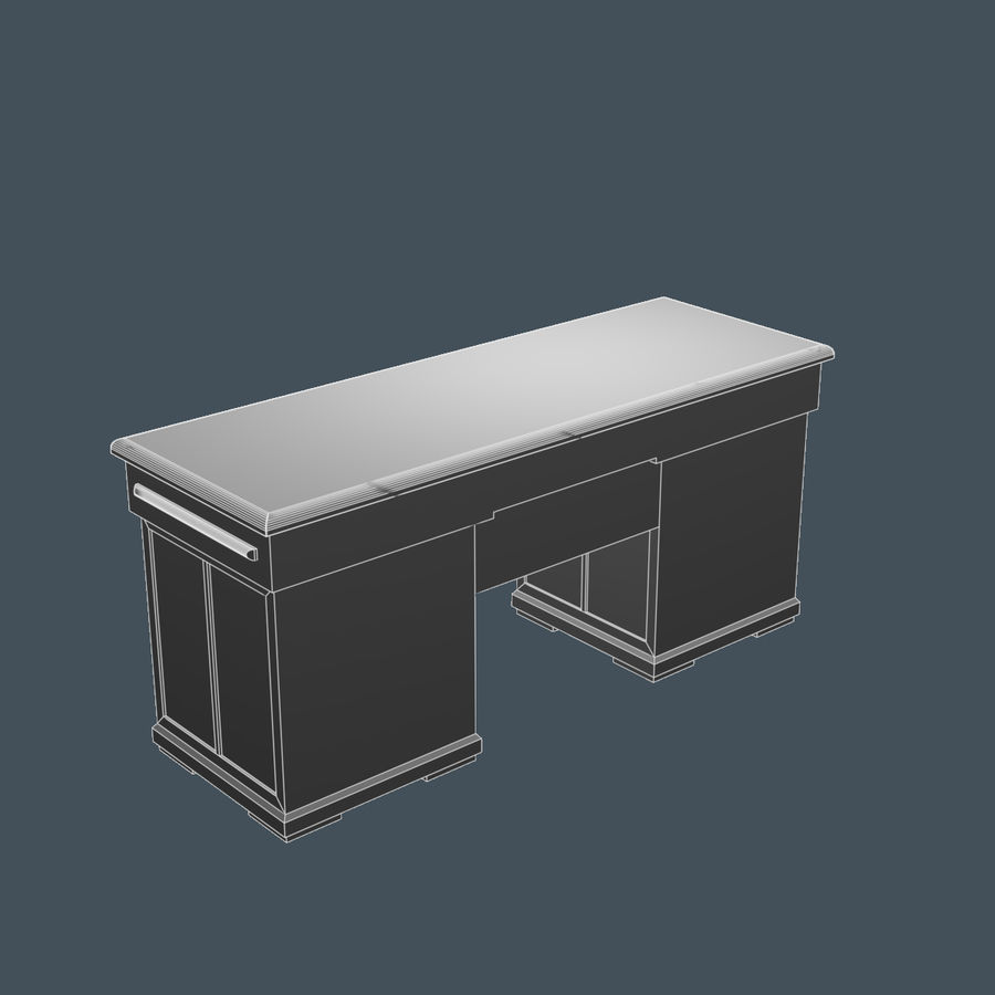 Wooden Desk royalty-free 3d model - Preview no. 7