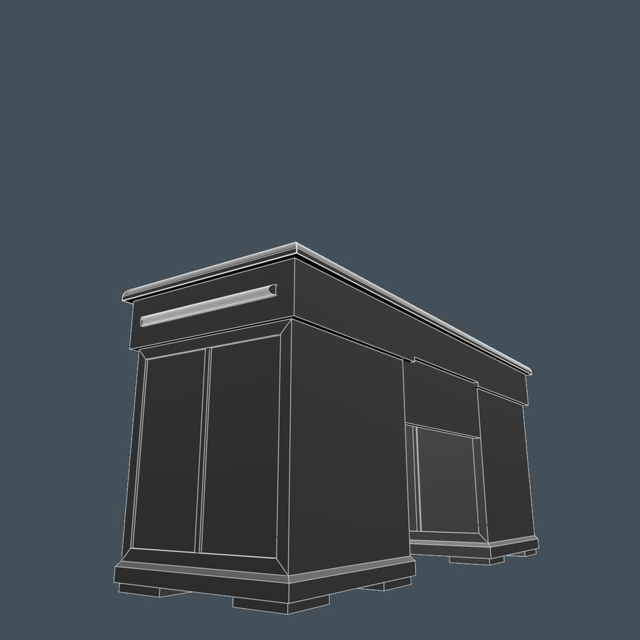 Wooden Desk royalty-free 3d model - Preview no. 8