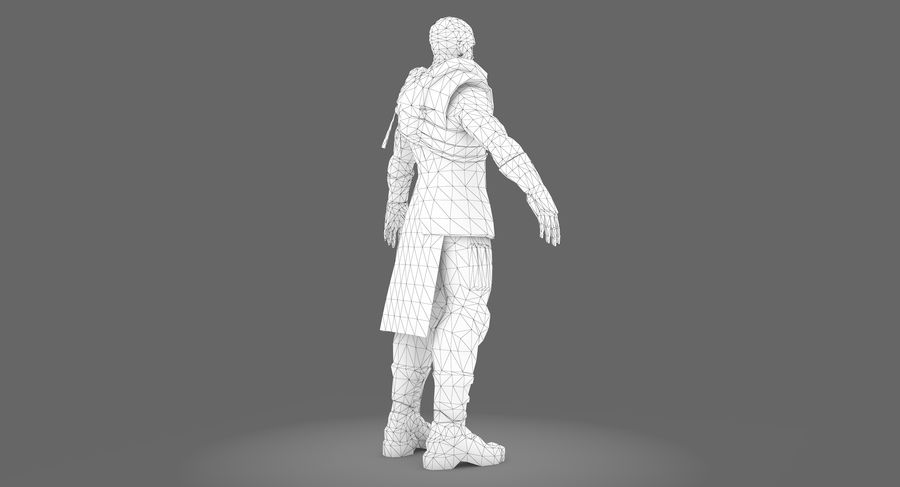 Sci-fi Warrior royalty-free 3d model - Preview no. 11