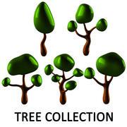 나무 만화 낮은 폴리 3d model
