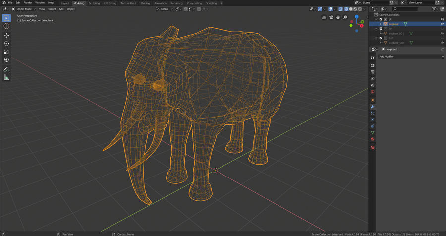 Elephant royalty-free 3d model - Preview no. 8