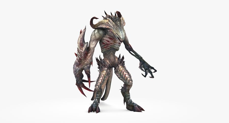 Monster type B royalty-free 3d model - Preview no. 3
