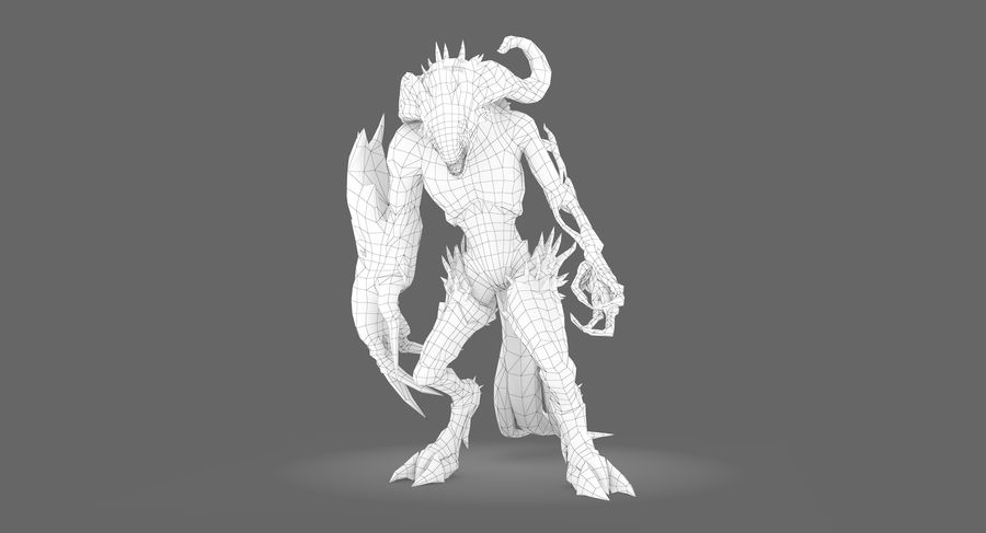Monster type B royalty-free 3d model - Preview no. 7