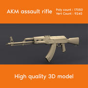 AKM Russian Assault rifle 3d model