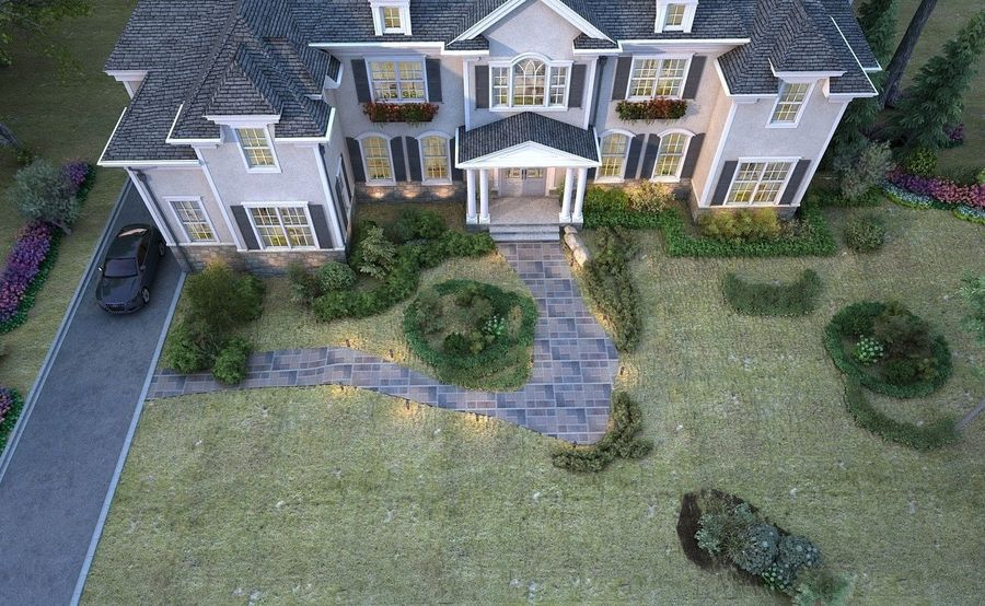 Exterior Villa Scene 3D model royalty-free 3d model - Preview no. 5
