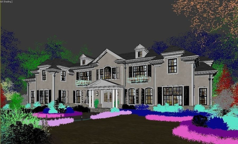 Exterior Villa Scene 3D model royalty-free 3d model - Preview no. 13