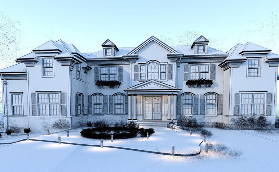 Exterior Villa Scene 3D model royalty-free 3d model - Preview no. 9