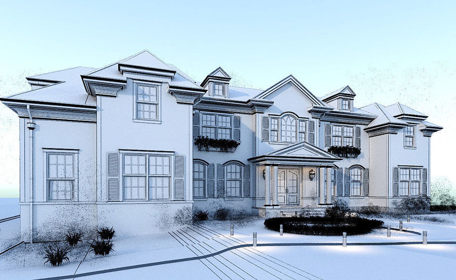 Exterior Villa Scene 3D model royalty-free 3d model - Preview no. 8