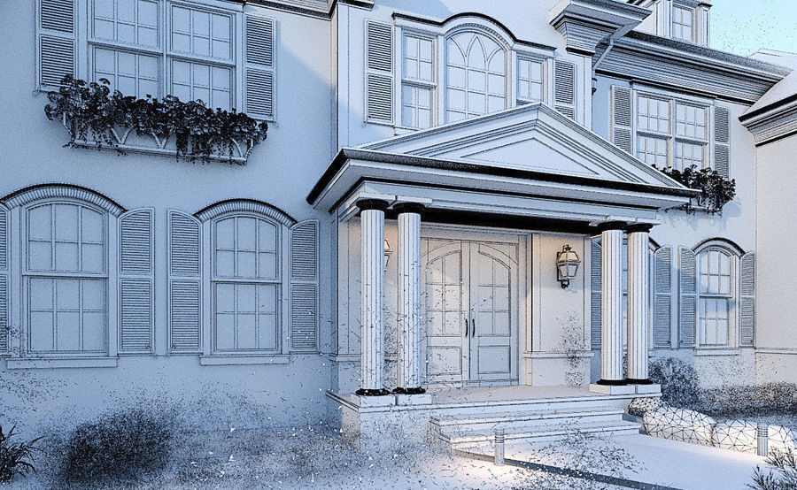 Exterior Villa Scene 3D model royalty-free 3d model - Preview no. 12