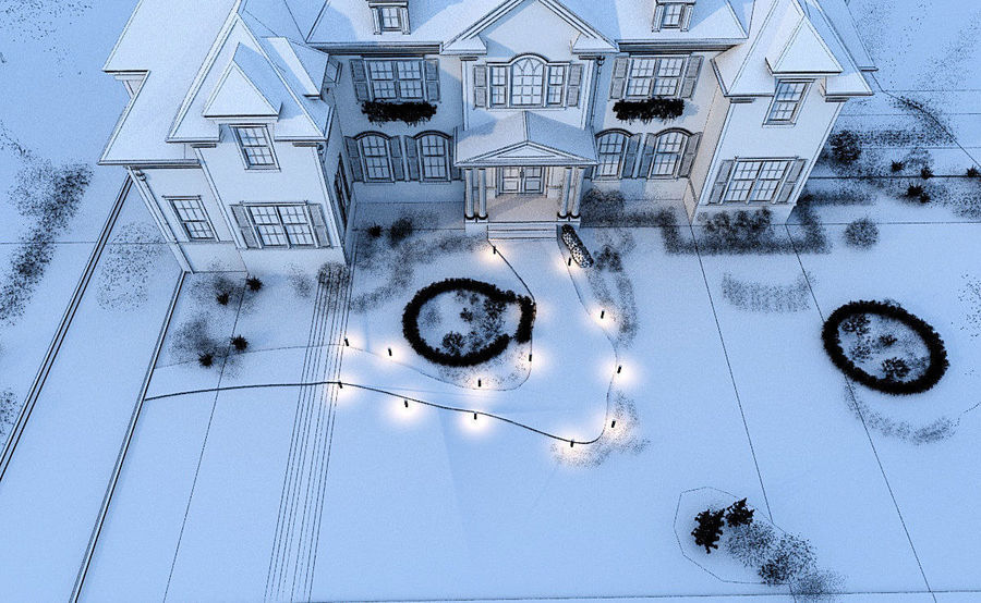 Exterior Villa Scene 3D model royalty-free 3d model - Preview no. 10