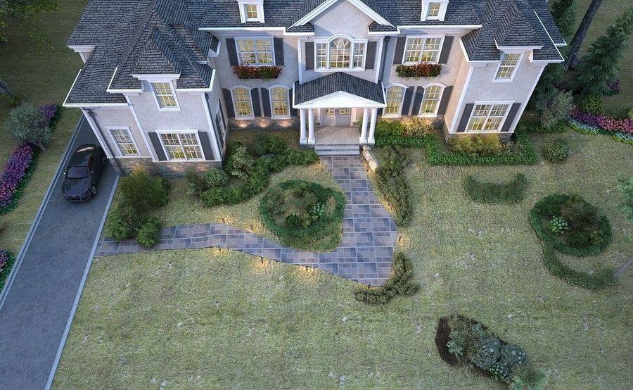 Exterior Villa Scene 3D model royalty-free 3d model - Preview no. 5