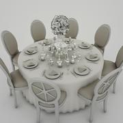 하얀 웨딩 테이블 3d model