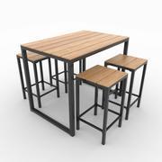 庭のテーブルと椅子 3d model