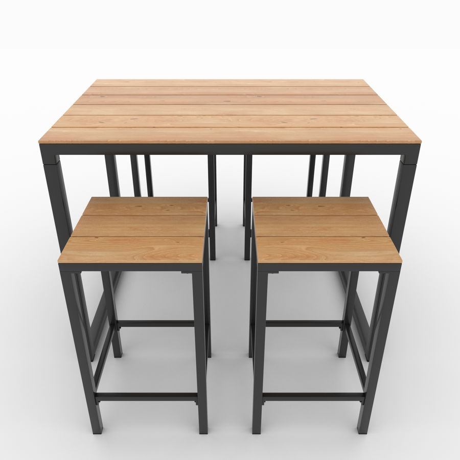 Garden table and chairs 12D Model $12 - .unknown .fbx .dae .obj