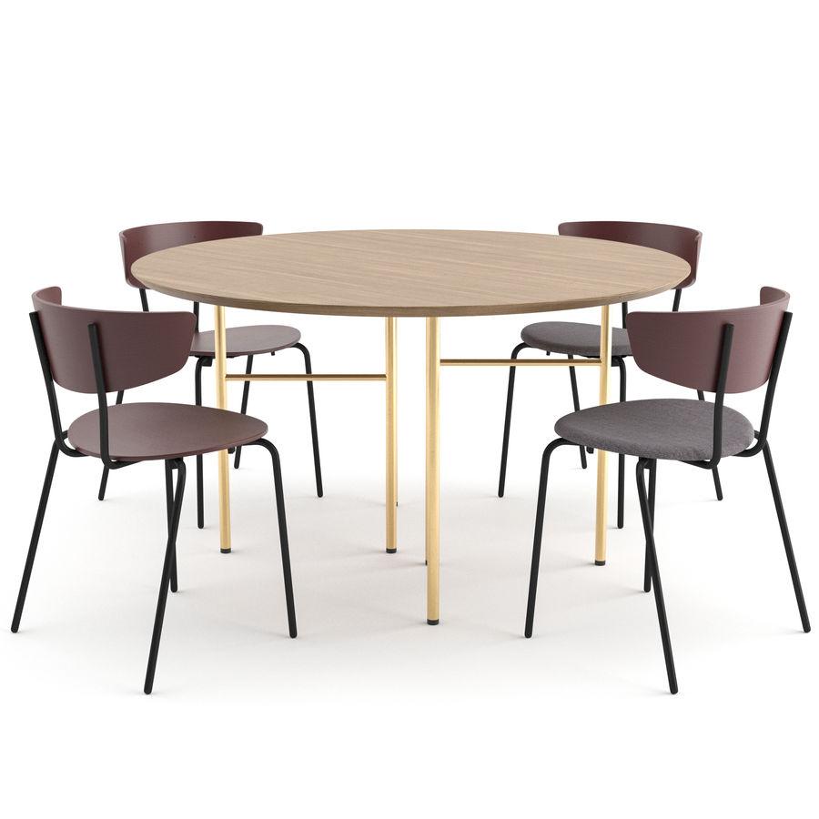 Krzesło Herman + Okrągły stół Mingle firmy ferm LIVING royalty-free 3d model - Preview no. 1