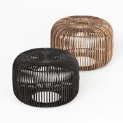 Small Flat Rattan Side Table Natural and Black 3d model