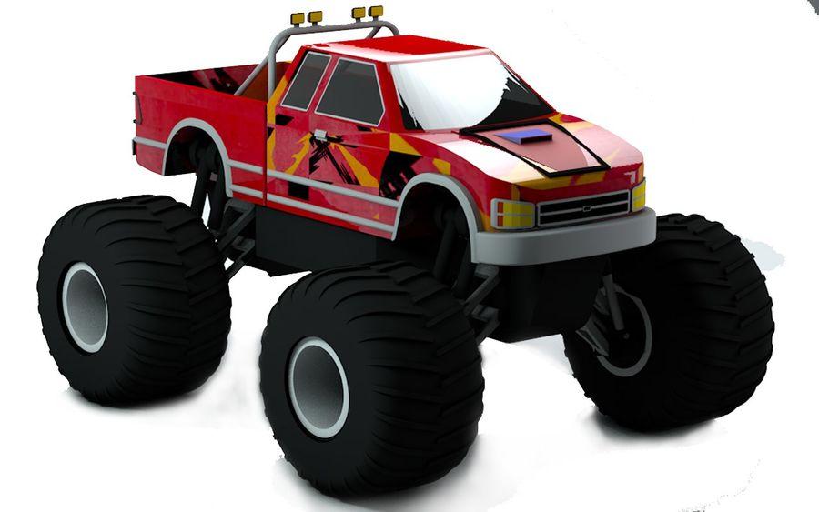 6 Canavar Kamyon Paketi Düşük Poli 3D model royalty-free 3d model - Preview no. 4