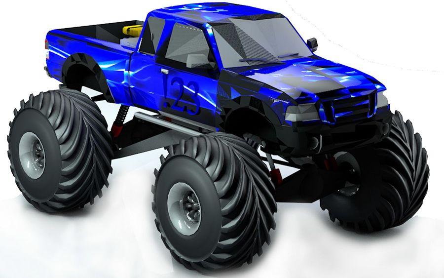 6 Canavar Kamyon Paketi Düşük Poli 3D model royalty-free 3d model - Preview no. 3