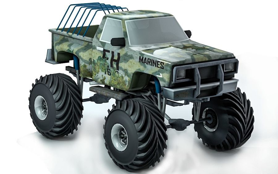 6 Canavar Kamyon Paketi Düşük Poli 3D model royalty-free 3d model - Preview no. 6
