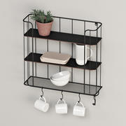 Industrial Shelf With Hooks 3d model