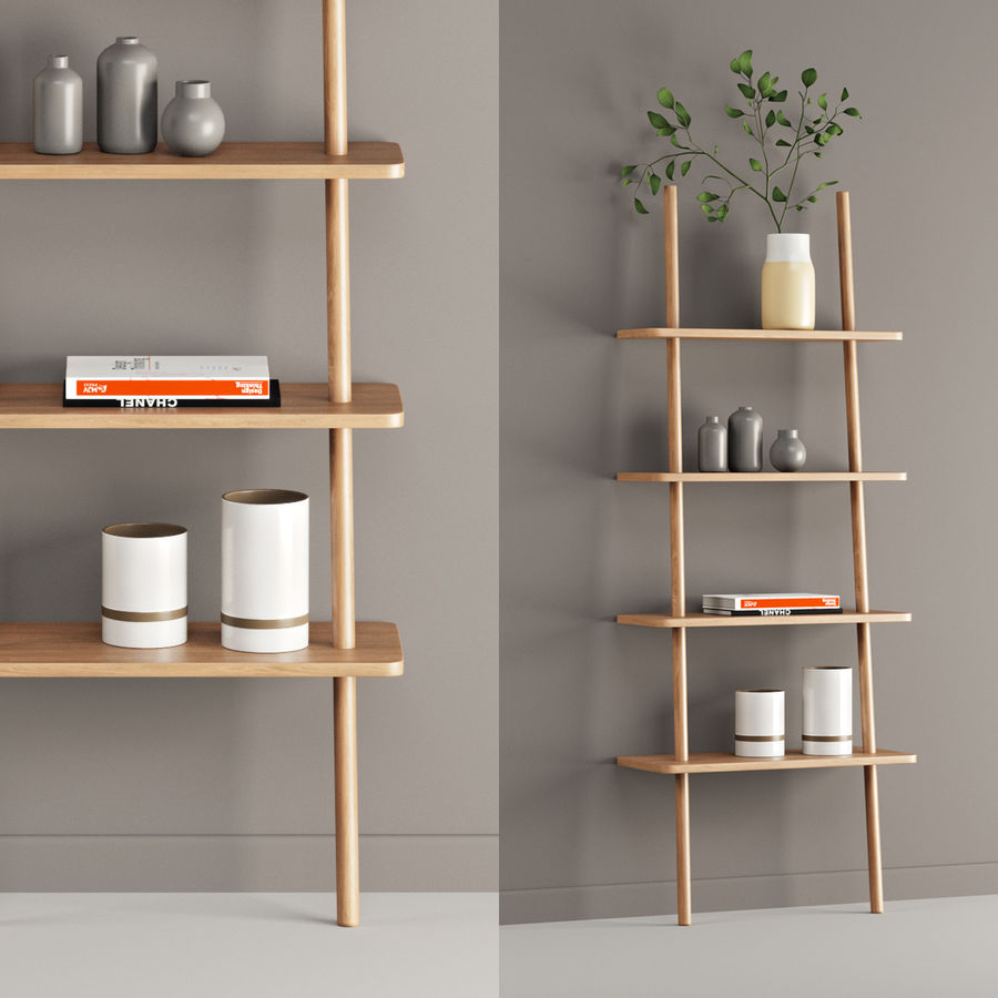 Oak Display Shelf royalty-free 3d model - Preview no. 1