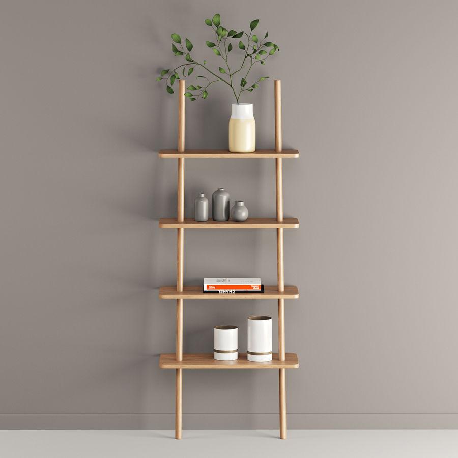 Oak Display Shelf royalty-free 3d model - Preview no. 2