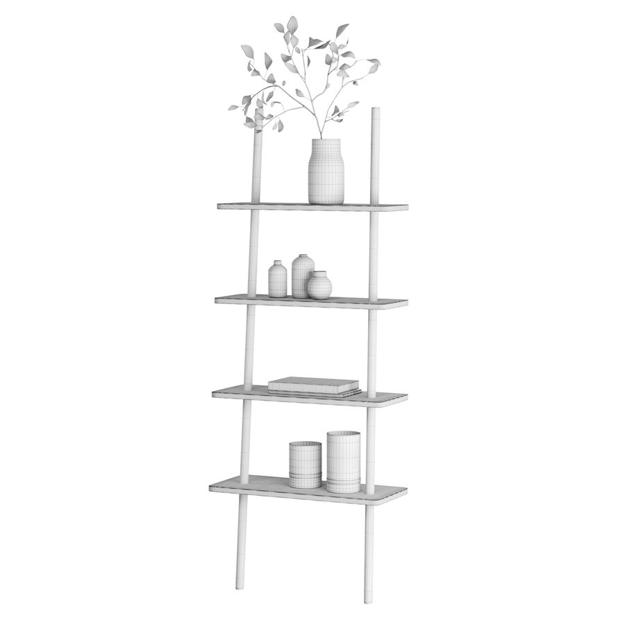 Oak Display Shelf royalty-free 3d model - Preview no. 7