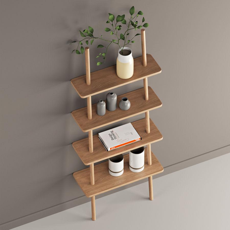 Oak Display Shelf royalty-free 3d model - Preview no. 3