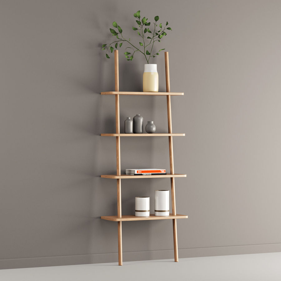 Oak Display Shelf royalty-free 3d model - Preview no. 4