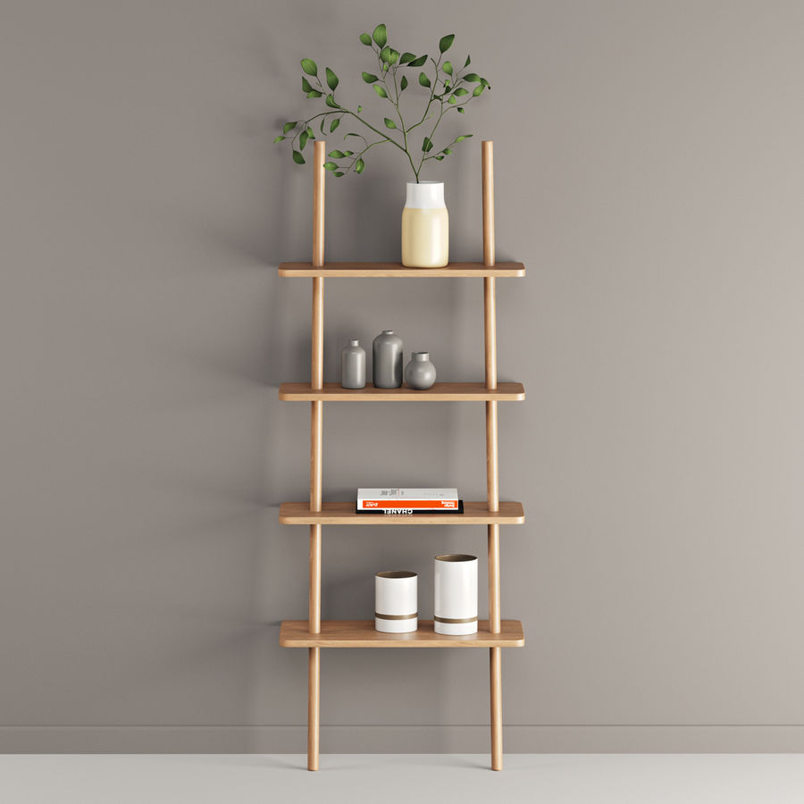 Oak Display Shelf royalty-free 3d model - Preview no. 2