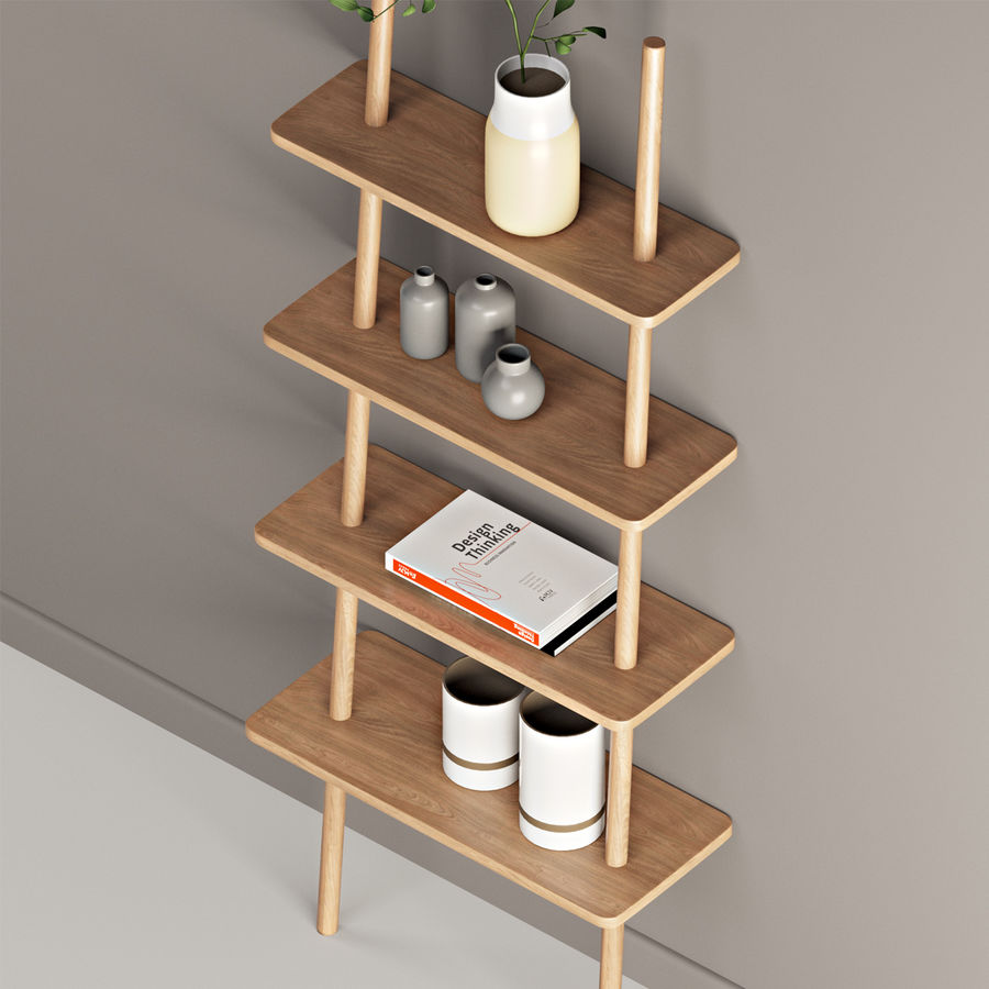 Oak Display Shelf royalty-free 3d model - Preview no. 6