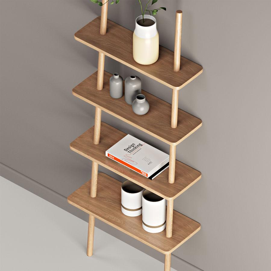 Oak Display Shelf royalty-free 3d model - Preview no. 6