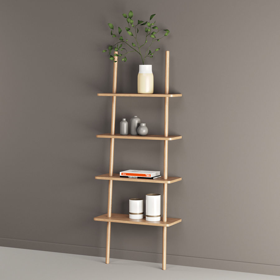 Oak Display Shelf royalty-free 3d model - Preview no. 5