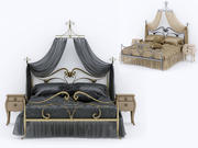Cama Art Nouveau 3d model