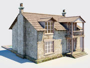 Old English cottage with a modern extension 3d model