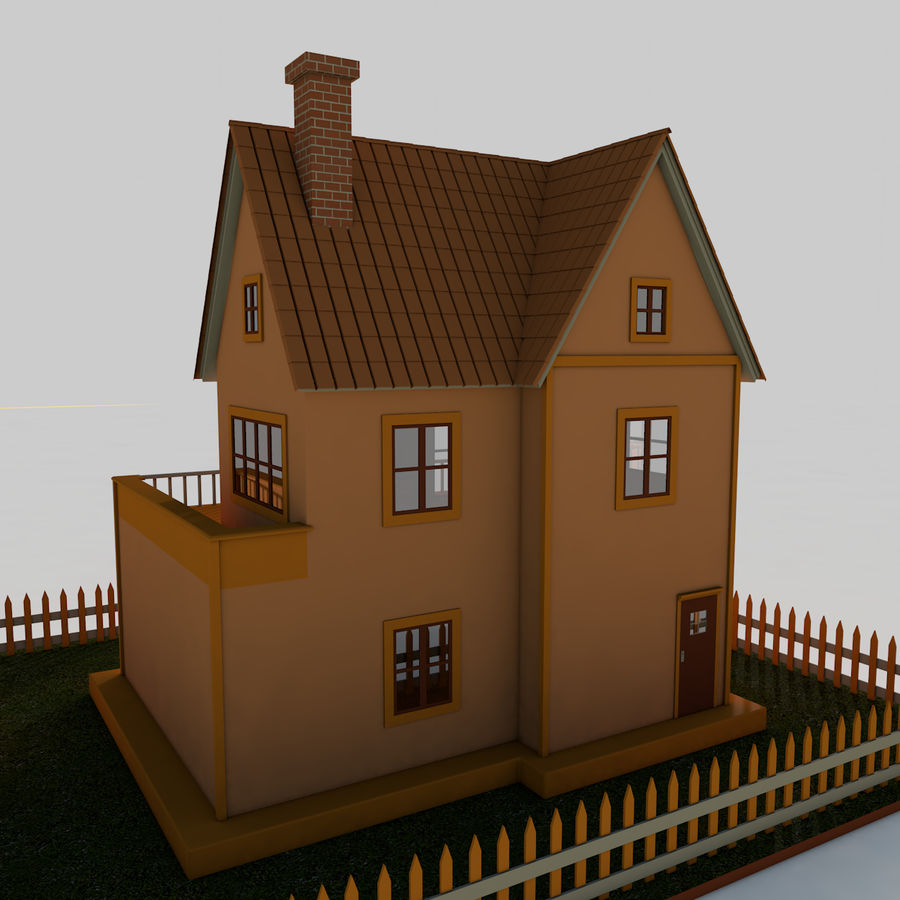 Karikatür evi royalty-free 3d model - Preview no. 5